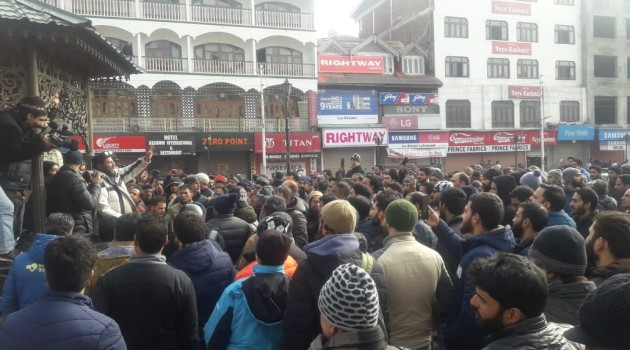 Latest Visuals From Lal chowk Srinagar….. Protest Started….
