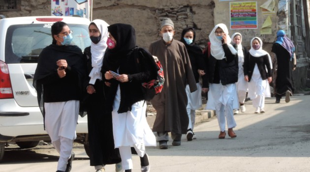 Students attending class rooms amid social distancing in Srinagar on Monday as High and Higher Secondary Schools across the Kashmir valley re-opened after the outbreak of COVID19 pandemic