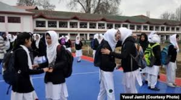 High and Higher Secondary Schools across the Kashmir valley re-opened after the outbreak of COVID19 pandemic, on Monday