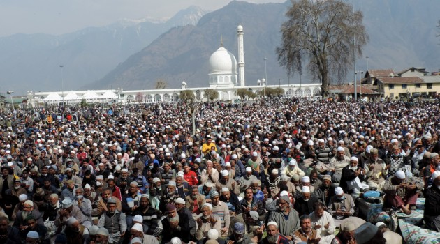 evotees praying at Hazratbal Shrine housing the holy relic of Prophet Muhammad on the occasion of following Friday of Mehraj-un-Nabi (SAW) celebrated  with religious fervor and  gaiety in the Kashmir valley