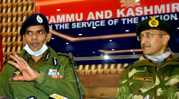 IGP Kashmir Vijay Kumar, GoC Victor Force Rashim Bali addressing a joint press conference in Srinagar