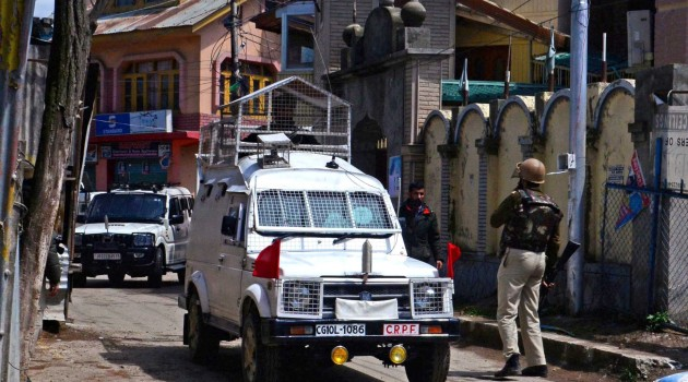 ecurity personnel during a cordon and search operation at Gulab Bagh in Srinagar outskirts