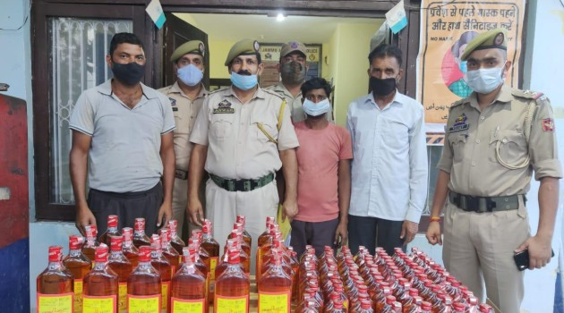 129 bottles of illicit liquor recovered by Police station Gharota Jammu. Three Bootleggers arrested.