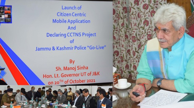 """Lt Governor declares JKP's much-awaited CCTNS project """"Go-Live"""" ; launches """"JK eCOP"""" Mobile App"""