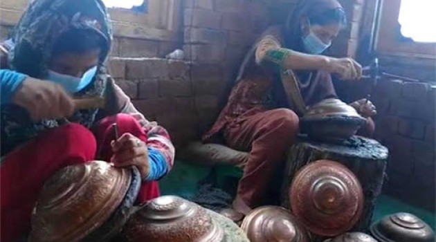 Women mastery on utensils: Kashmiri girls who chose Copper craft as their job to make ends meet